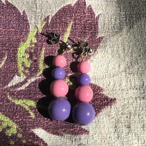 Vintage 80's Pink Purple Beaded Drop Earrings
